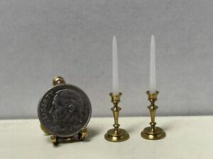 Vintage Artisan TRETTERS Brass Candlesticks & Candles Dollhouse Miniature 1:12