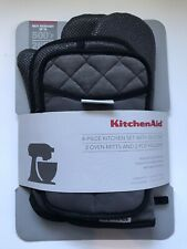 New KitchenAid 4-Piece Kitchen Set w/ Silicone (2) Pot Holders + (2) Oven Mitts