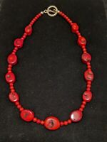 Vintage Artisan Silver Tone Red Large Coral Bead Statement Choker Necklace