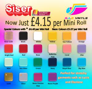 Mini Rolls-Siser EasyWeed Stretch PREMIUM HTV Vinyl 500mm x 300mm approx