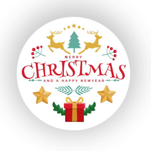 48x Christmas Waterproof Stickers Merry Xmas Gift Present Seals Label 45mm SNP28