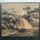 Antique Japanese silk Gobelin tapestry textile vintage landscape Japan waterfall