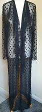 Womens Fashion Black Lace polkadot Maxi Dressing Gown Size 8