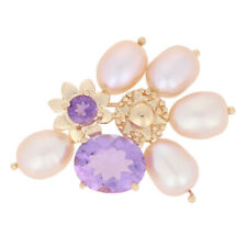 Yellow Gold Amethyst & Oval Ringed Pearl Brooch - 14k Oval Cut 5.00ctw Floral
