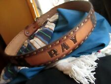 36 True Vtg 80s Leather Cowboy Ray Monogram Tooled Western Belt