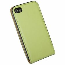 Edle Tasche für das Apple iPhone 4 4S Kunstledertasche Grün Apfelgrün Slim Flip