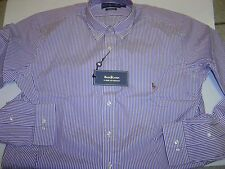 BIG MENS RALPH LAUREN PURPLE-WHITE STRIPED CLASSIC FIT L/S SHIRT SIZE 16 38/39