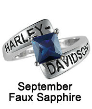 Harley-Davidson® September Birthstone Ring - Faux Sapphire - size 6 D4J8834