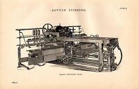 1868 Imprimé ~ Coton Spining ~ PLATT'S Auto Agissant Mule