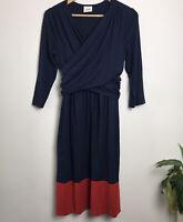 ML Size L Navy Red Colour Block Wrap Front Stretch Dress (Chest 44cm Across)