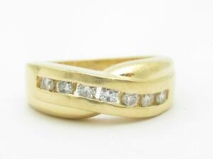 14k Yellow Gold & Diamonds Channel Design X Band Ring Gift Size 10.5