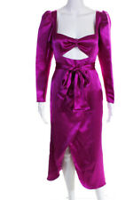Viva Aviva Womens Tiffany Satin Belted Midi Draped Dress Hot Pink Size 4