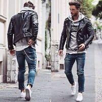 New Men's Genuine Lambskin Leather Motorcycle Jacket Bomber Biker Jacket KB06