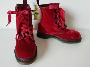 Dr Martens 5 eye large eyelet Grace red pink velvet boots 10155 UK 6 EU 39 US 8