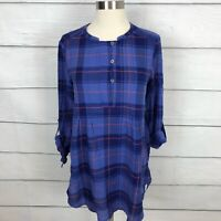 Holding Horses Anthropologie Halfpenny Plaid Tunic Top Size XS Blue High Low