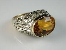 Vintage 18K Silver Citrine Diamond Ring Estate Fine Jewelry Size 7 $2500
