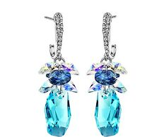 Made With Sparkly Swarovski Crystal Stone Jewellery Blue Drop Pierced Earrings