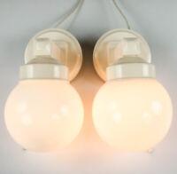 Art Deco Wandlampen Paar NOS Glaskugel geneigt Bakelit Leuchten DRGM 30er 40er