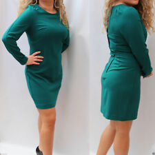 New 14 UK Next Tailored Classic Green Long Sleeve Crepe Office Work Shift Dress