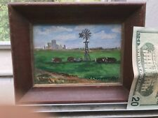 Antique original OIL PAINTING  FARM Cows Windmill Miniature Signed