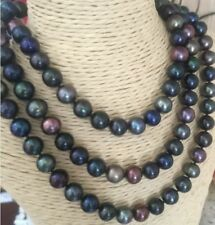 Elegant 9-10mm Tahitian round black green multicolor pearl necklace 48inch 14k