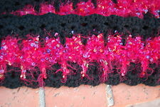 Cat & Kitten Infinity Scarf Soft Crochet Black & Red Fuzzy Multi