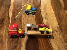 Melissa & Doug Magnetic Car Loader Wooden Toy Set, Cars & Trucks,