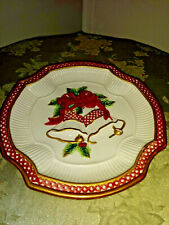 Fitz and Floyd Essentials Hanging or Serving Christmas Plate Bow & Bells