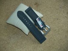 24mm BLACK LEATHER MATTERHORN HEAVY DUTY WATCH STRAP WITH LARGE CHROMO BUCKLE