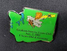 Lion's Club Commemorative Graham-Sunrise Nov. 2, 2001 Airplane Enamel Pin EUC