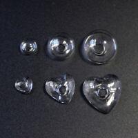 10PCS DIY Craft Jewelry Making Clear Glass Cover Charms Heart/Mushroom Shape