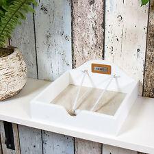 Servilleta de madera blanco de dos tonos Soporte Dispensador de Mesa cuadrada de papel Servilletero