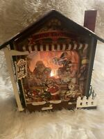 Joy The Christmas Toy Shop Music Box Turn Key Wooden House 3D lighted animated
