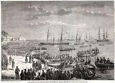 Beneventano del Bosco e le Truppe Napoletane evacuano Milazzo. Sicilia. 1860