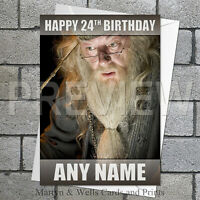 Harry Potter / Dumbledore personalised birthday card. 5x7 inches.