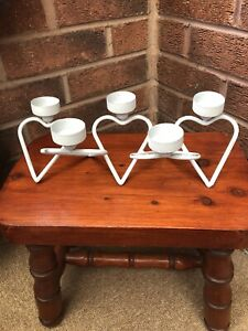METAL TEA LIGHT HOLDER LOVE HEART DESIGN WITH A DISTRESSED GREY FINISH