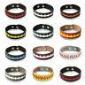 Men Women Punk Braided Leather Bracelet Wristband Sports Cuff Bangle Softball