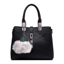 Ladies DESIGNER Long Handle Tote Shoulder Handbag Reversible PU Leather Bag E1751 Black