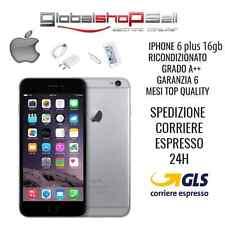 APPLE IPHONE 6 PLUS 16GB GRADO A++ GRIGIO ORIGINALE RIGENERATO RICONDIZIONATO