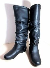 Qupid Neo Black Slouchy Boots 6.5 NEW Calf to Knee High Flat 6 1/2