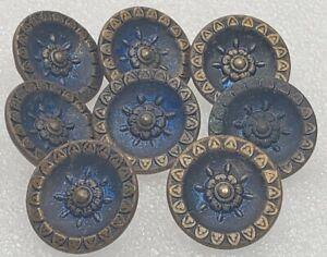 """Antique Set of 8 Floral Starburst Blue Cast Metal Shank Buttons 5/8"""""""