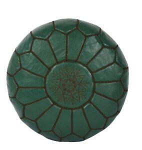 Handmade Moroccan Leather pouf Ottoman Luxury Pouffe Dark Green Pouf Footstool