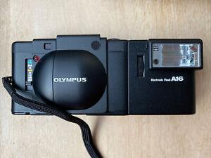 Olympus XA A11 35mm Rangefinder Film Camera + A16 flash in hard case