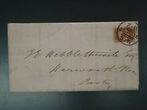 """G.B. - 1870 ½d PLATE 11 """"IMPERFORATE AT RIGHT"""" FINE USED ON  ENTIRE (CVR.A1)"""