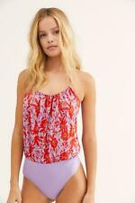 Free People Liza Bodysuit. Purple/Red Floral. Large.