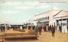 """Amusement Park Midway LUNA PARK Seattle, WA """"Trocadero"""" c1910s Vintage Postcard"""