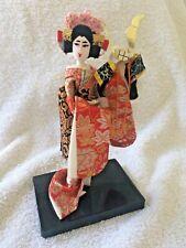 Vintage Japanese Geisha Doll On Stand Holding Helmut (Samurai?) Kimono