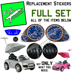 Replacement stickers for Audi R8 push car dials gear horn kids pushbuggy pink