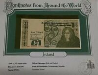 1984 Ireland One Pound Banknote Crisp Uncirculated in Stamped Info Card