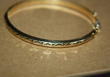 Ross Simons simple 18k yellow gold sterling silver diamond cut Bangle bracelet